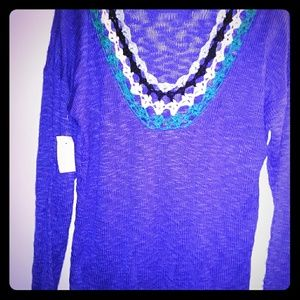 MEGA SALE Nwt Embroidered Sweater Blue